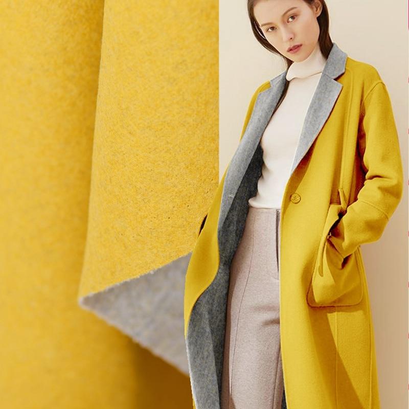 Limitée Mojito fille Citron jaune double face tissu en laine à tricoter pour manteau épaississement cryptage telas tissus au mètre tecidos