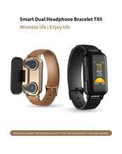 T89 Smart Bracelet Fitness Tracker TWS Wireless Headset Bluetooth 5.0 Earphones Heart Rate Monitor IP67 Smart Band Sports Watch
