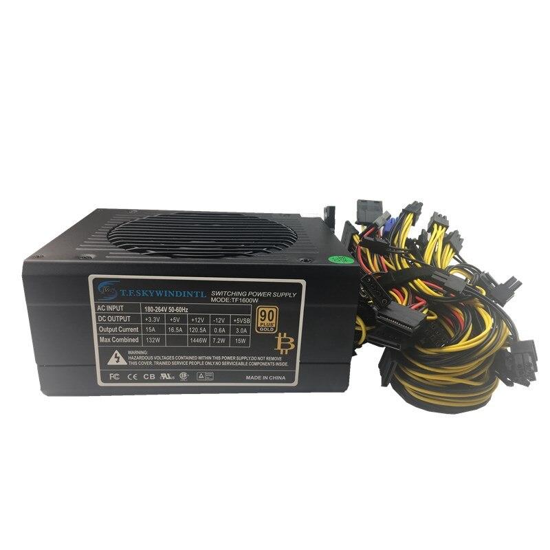 Alimentation 1600 W ATX PSU Minière alimentation 1600 W BTC Mineur alimentation pour rx 470 rx 480 rx 570 6 gpu soutien 12 V antinomique