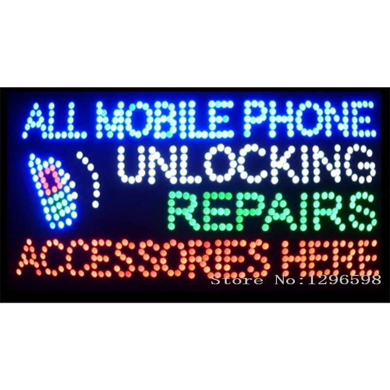 2017 hot výprodej 80 X 40CM vnitřní ultra jasný blikající opravy všech mobilních telefonů odblokování příslušenství obchodní obchod znamení led-