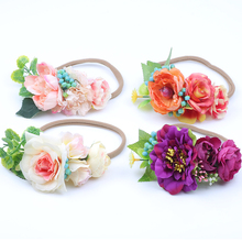 New Ribbon Flower Hairband Newborn Hair bands bohemian festival Headband Kids Hair Accessories for Girls 2017 new 10pcs lot beach hair accessories kids flower headband bohemian style wreath garland girls birthday party hairband