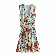 women dress v neck sexy summer 2019 Strap button casual flower female Streetwear sleeveless midi
