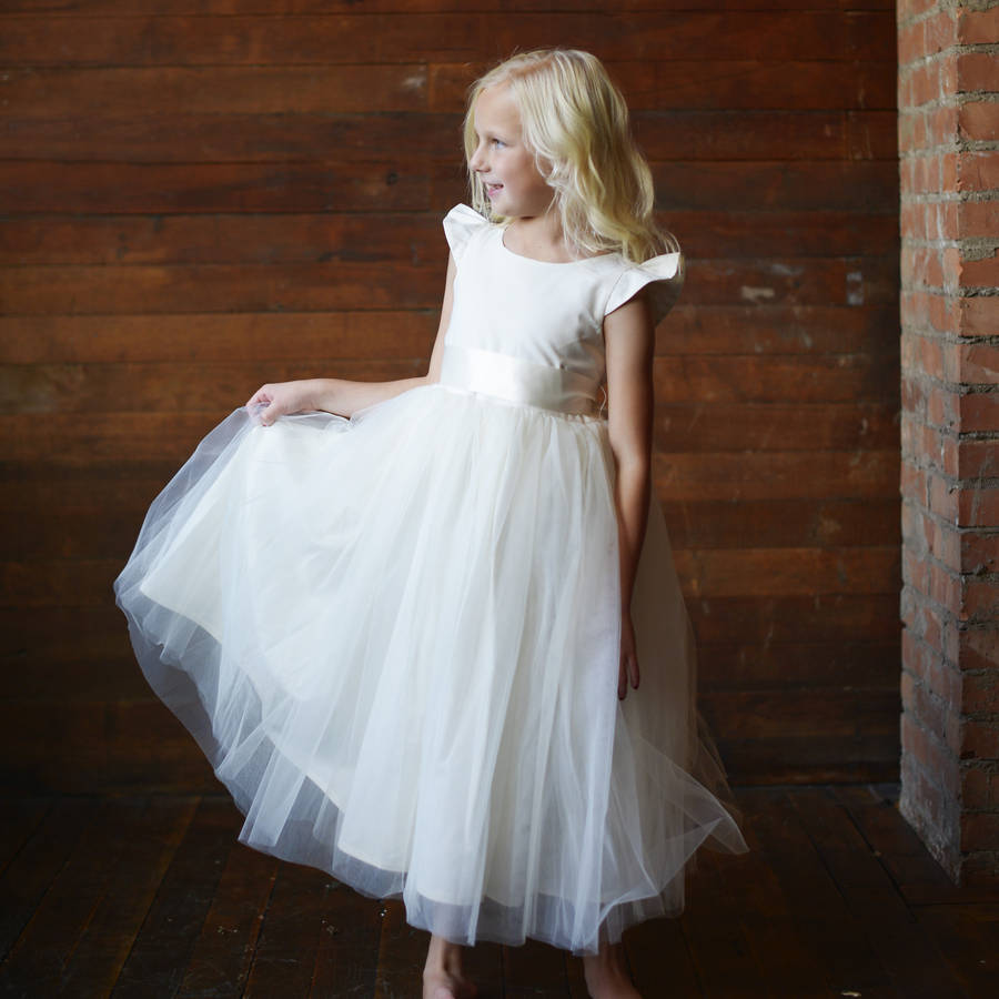 ФОТО Free Shipping  Flower Girls Dresses For Wedding Gowns White Girl Birthday Party Dress Ankle-Length Communion Dresses for Girls