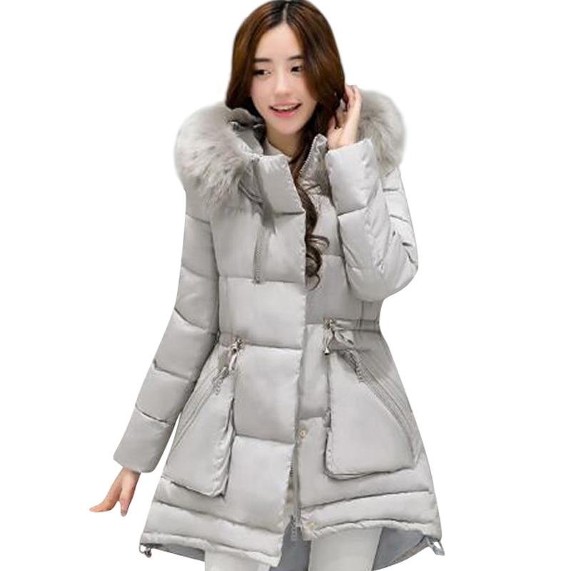 ФОТО Winter Jacket Women 2017 Long Parka Slim Female Fur Collar Thick Jackets Wadding Cotton Hooded Jacket Snow Wear Lady Outerwear