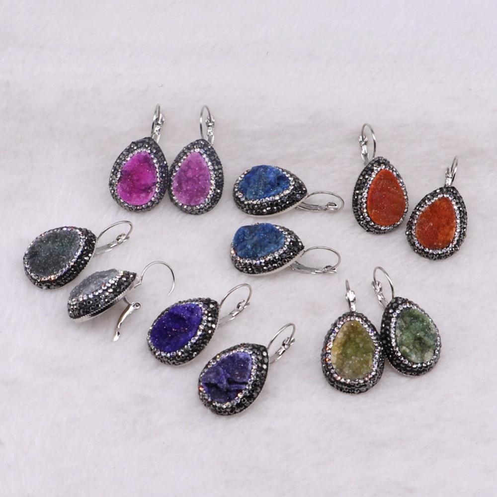 цена на Natural druzy earrings drop shape mix colors druzy earrings wholesale jewelry gem jewelry for women 3341
