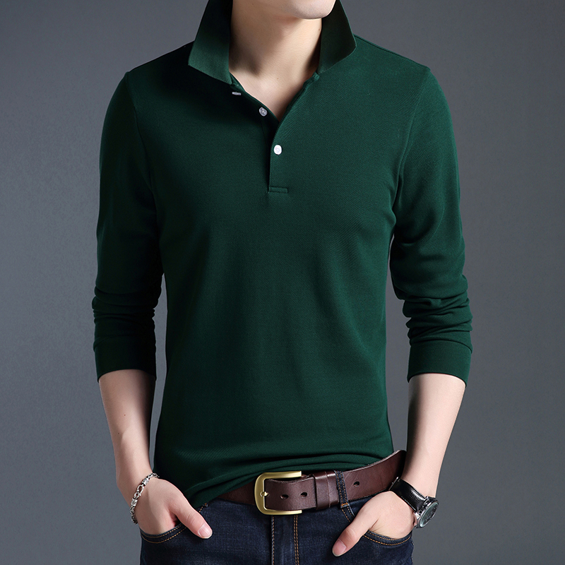Top Grade New Fashion Men Polo Shirt Solid Color Slim Fit Polo Men Long Sleeve Mercerized