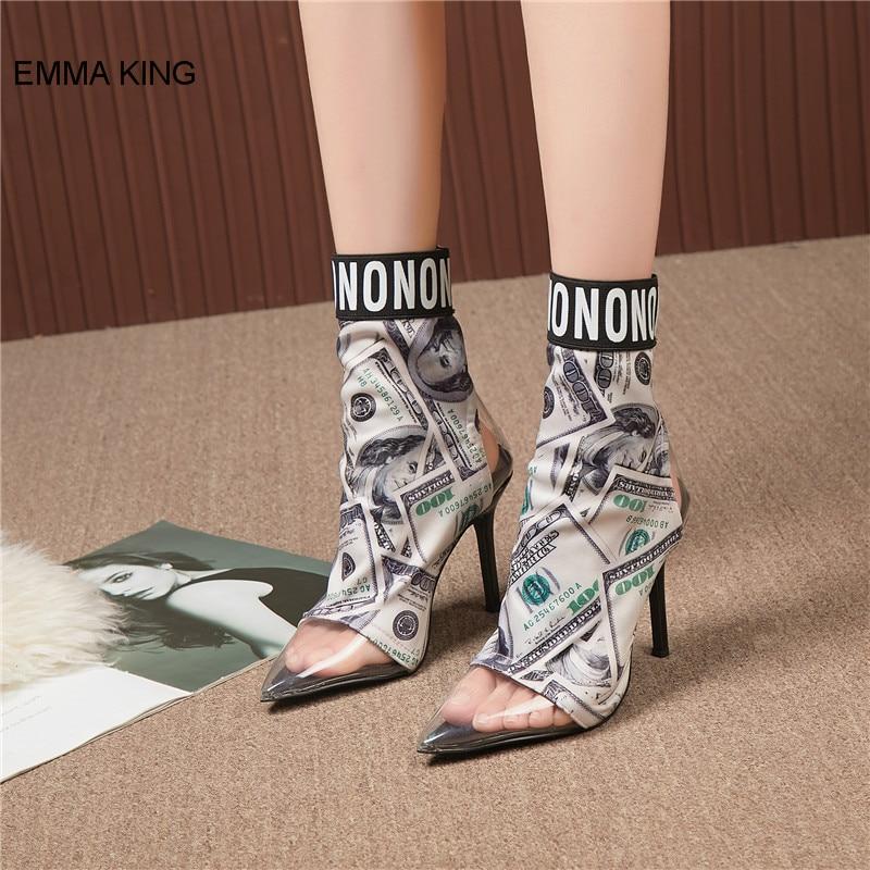 Transparent Femme Motif Imprimer Talons Pvc Chaussures As Glissement Cheville Chaussons Bout Hauts Des Picture L'argent Pointu À Bottes Sur De Mince Femmes Mode Mujer 15qw4vOx
