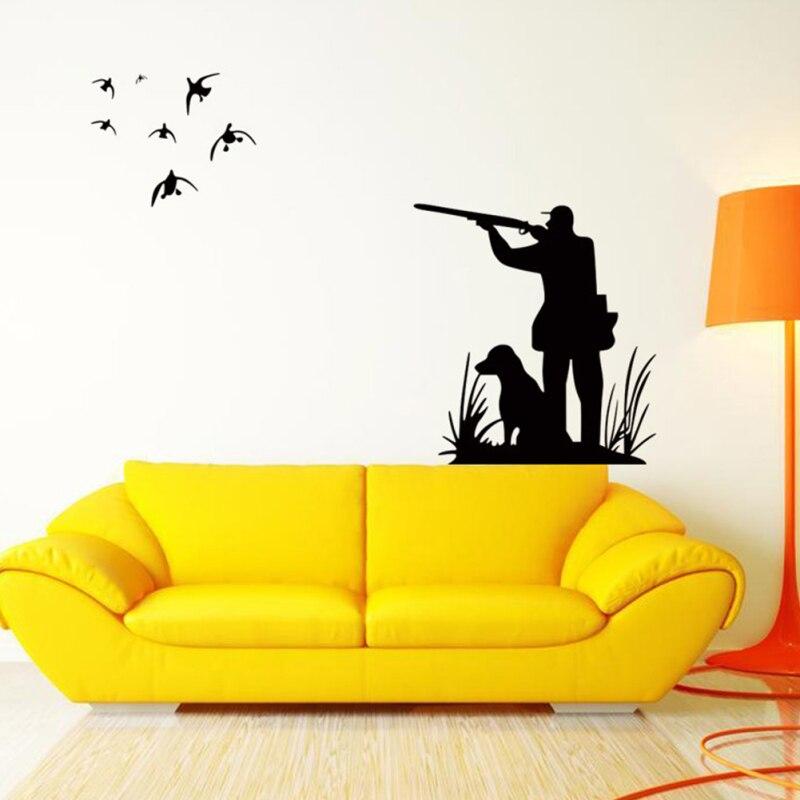 Hunter with Dog Birds Wall Art Mural Decor Hunting Wallpaper Decor ...