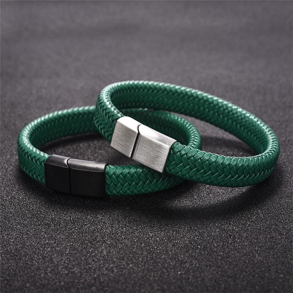 Braided Leather Men's Bracelet with Magnetic Stainless Steel Clasp Bracelets Hot Promotions Jewelry Men Jewelry New Arrivals
