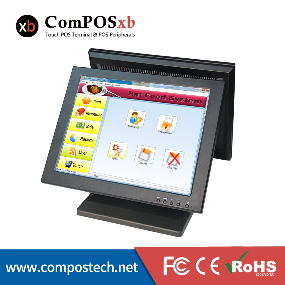 best selling dual screen restaurant touch screen monitor touch pos system display tm1501d in lcd. Black Bedroom Furniture Sets. Home Design Ideas