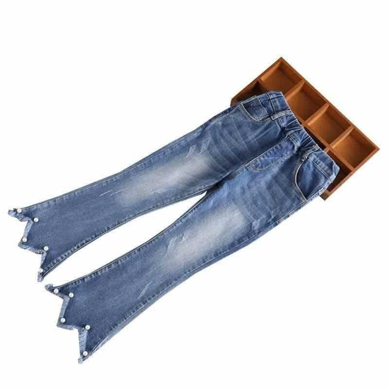 2019 Yeni Bahar Yaz Çocuk Kot Pantolon Kız Moda Geniş Bacak Pantolon Düz Çocuk Tayt Sıska Bebek Pantolon Genç Denim w14