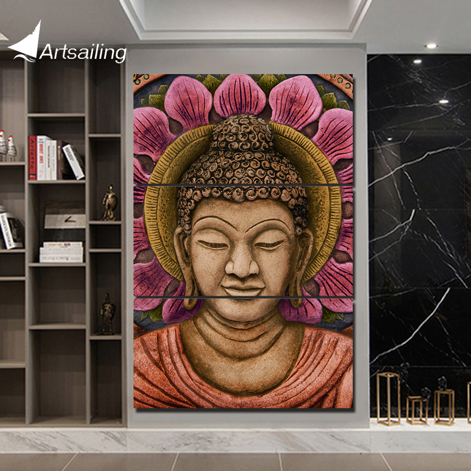 3 Piece HD Printed Canvas Art Abstract Buddha Painting Canvas Print Wall Picture For Living Room Decor Free shipping YA236C