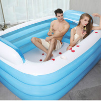 Household Oversized inflatable bathtub Adult /Couple/Children Collapsible Bath Barrel Thicken Fold Double Bath Tub