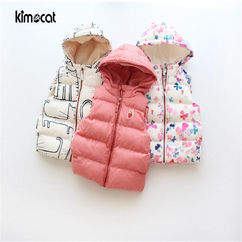 Kimocat Baby Girl Clotnes Vest Girls Vest Sleeveless Cute Cat Floret Prints Keep Warm Winter Hat Baby Clothing Colete Waistcoat