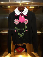 高品質滑走路のセーター女性の高級ラインストーンスパンコール花弓ニットプルオーバー2017冬ジャンパー女