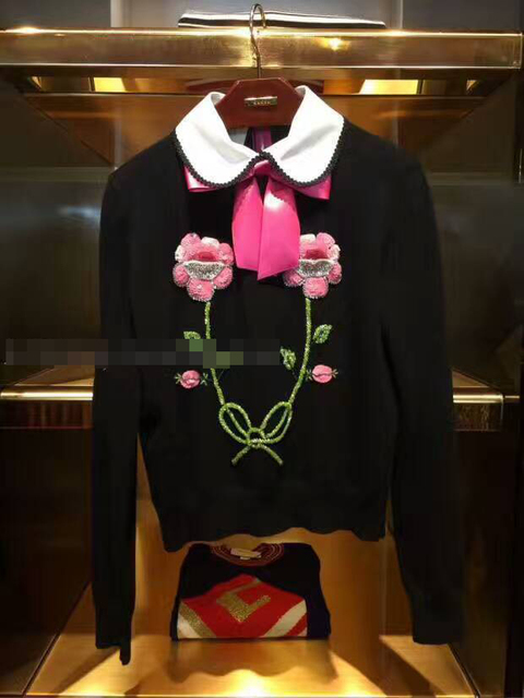 High Quality Runway Sweater Women Luxury Rhinestones Sequins Flower Bow Knit Pullovers 2017 Winter Jumper Women Winter Sweaters