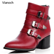 Vianoch 2018 New Fashion Womens Ankle Motorcycle Boots Winter Fur High Heels Casual Shoes Pointed Toe Platform Pumps wo180884