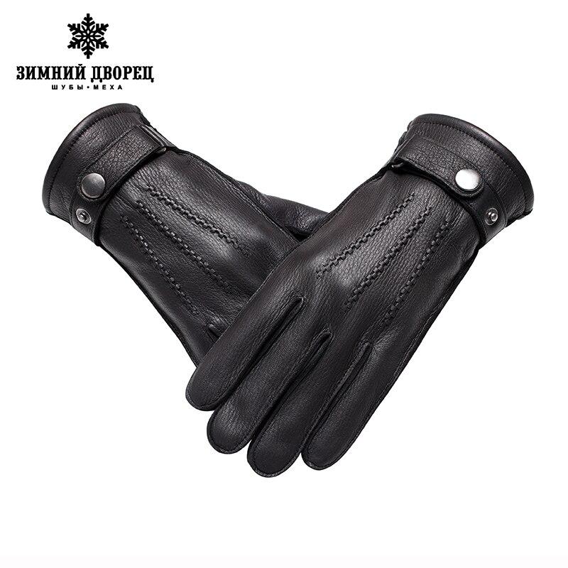 Véritable Cuir gloveLuxury gants mâle gants en cuir De Mode Populaire gants d'hiver gars Dur gants hommes noir Snap conception - 4