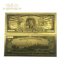 Regalos de recuerdo, 10 unidades/lote, billetes de hoja de oro de EE. UU., 1 mil millones de dólares, oro de 24 quilates, réplica de billetes en colores para colección