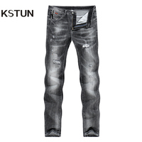 KSTUN Men's Jeans Korean Style Thin Cotton Ripped Distressed Painted Denim Jean Man Jogger Hiphop Broken Jeans Length 90cm-97cm 15