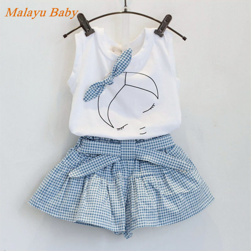 Malayu Baby The new 2016 summer girl clothing set fashion fabric bow short-sleeved T-shirt & skirt girl clothes sports suit 2-7Y