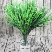 New 7 fork green grass artificial plant plastic flower family shop decoration clover wholesale