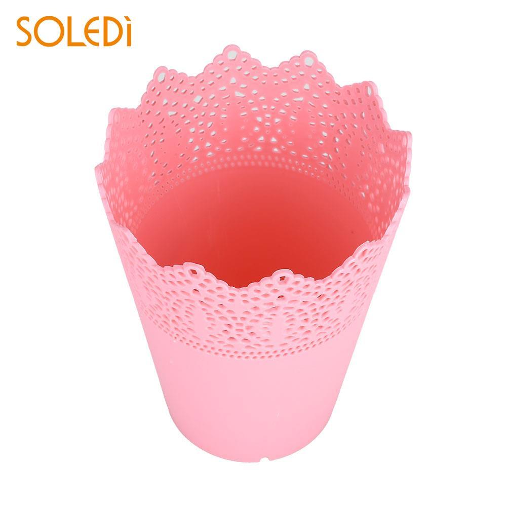 Ручка Контейнер цветочные горшки макияж кисти пластиковый держатель для хранения розовый/белый/синий/фиолетовый красивый стол аккуратный держатель экономичный