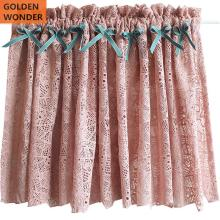 GOLDEN WONDER Pink Lace Short Semi-curtain Ready Made Half Kitchen Door Curtains Coffee Tulle