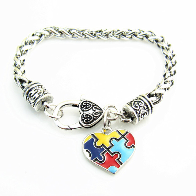 autism charm fashion piece bracelet bangles awareness alloy enamel autistic puzzle item bracelets zinc claw lobster