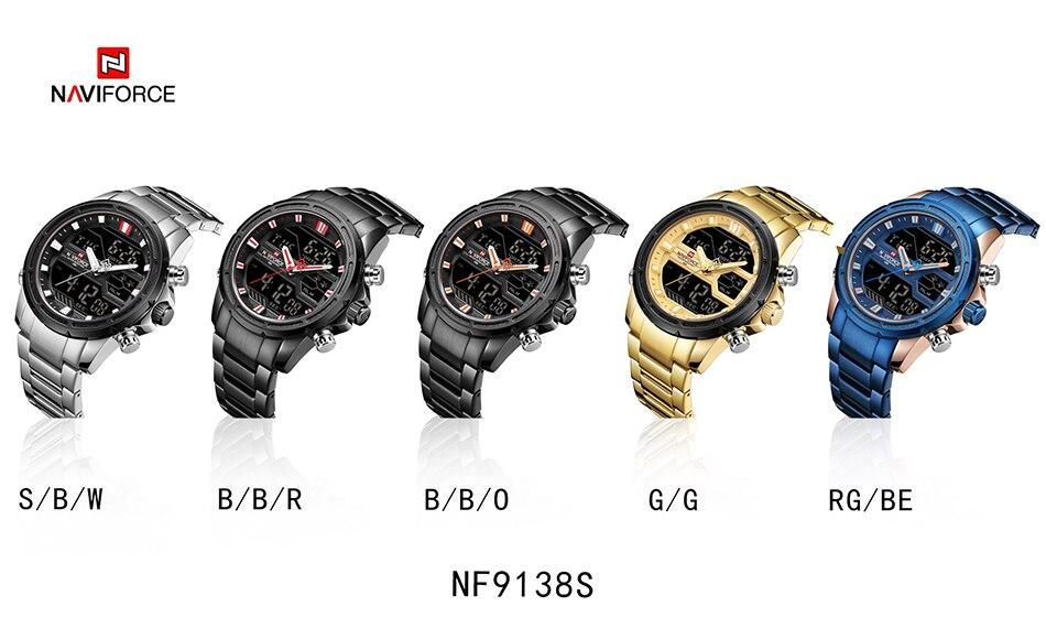 Top Luxury Brand NAVIFORCE Men Watches Military Waterproof LED Digital Sport Men's Clock Male Wrist Watch relogio masculino 16