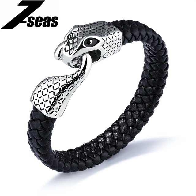 7seas Punk Snake Bracelet For Men 2017 Summer Braided Leather Mens Jewelry Male Wrap Bracelets Magnet