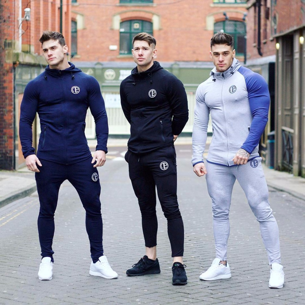 New Hot Sale Sets Mens Fitness Hoodie Embroidered Zipper Suits Sweatshirts Bodybuilding  ...