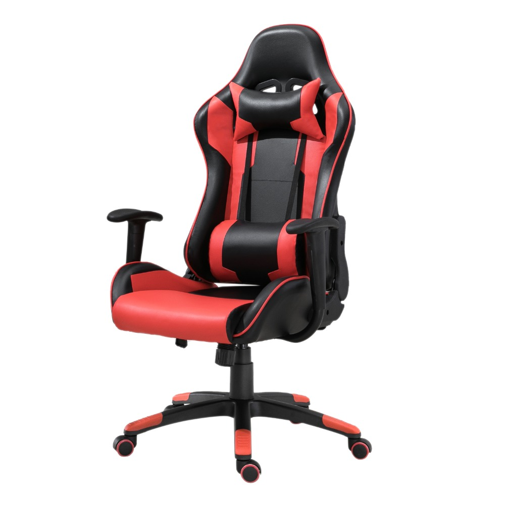 Samincom PU Leather Office Chair L21.3*W21.3*H50~53.9 High-Back with Headrest and Lumbar Support Racing Gaming ChairSamincom PU Leather Office Chair L21.3*W21.3*H50~53.9 High-Back with Headrest and Lumbar Support Racing Gaming Chair