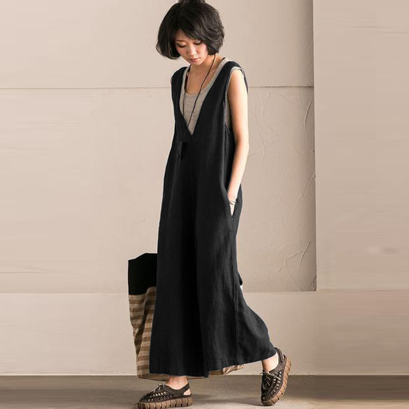 Women V Neck Sleeveless Pockets Loose Jumpsuit Ladies Casual Solid Wide Leg Pants Long Dungarees Cotton Loose Romper Plus Size