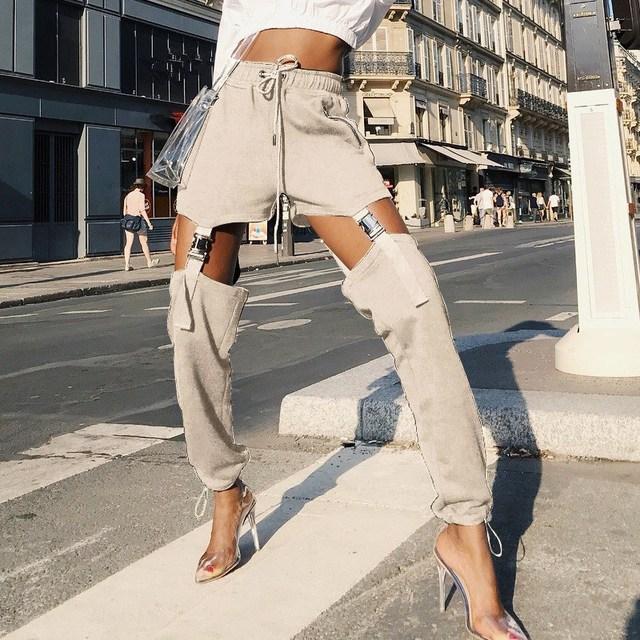 Autumn Women Sexy High Waist Hollow Out Pants Fashion Zippers Patchowrk Pants Casual Style Khaki Elastic Waist Trousers