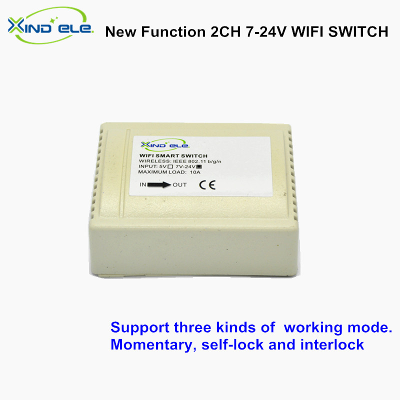 2CH 7V 12V 24V DC 10A Smart wifi switch Home Interruptor Control by APP On Off switches for Home Automation Light 2ch dc 5v wifi wireless smart switch module controlled by app on android ios for home automation light appliance garage door
