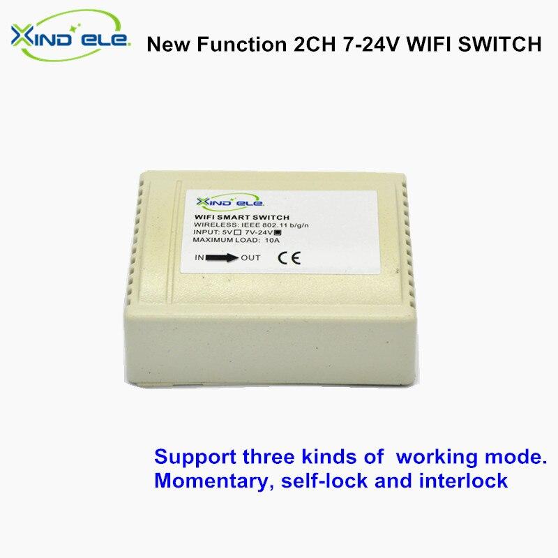 2CH 7 V 12 V 24 V DC 10A Intelligent wifi commutateur Accueil interrupteur Contrôle par APP On Off commutateurs pour La Domotique lumière