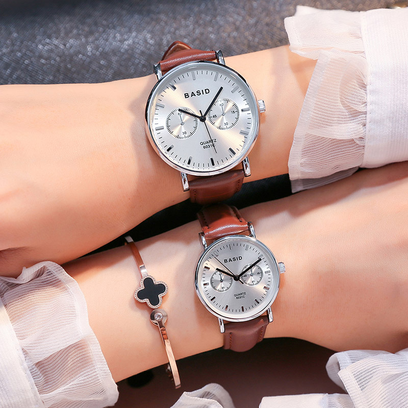 2017New BASID brand Couple Watches for Lovers Pair  Quartz Wrist Watch Fashion Waterproof Men Women Wristwatches relogio