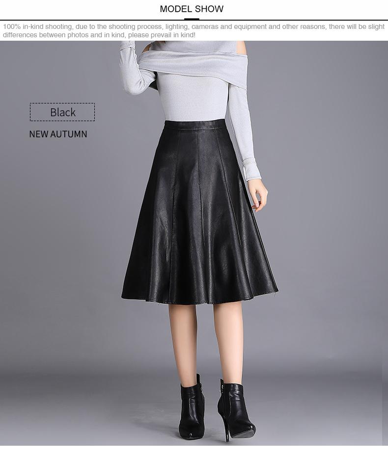 2019 SUCH AS SU Autumn Winter Skirt Women 2017 Brown Black High Waist Mid  Long PU Leather Skirts S XXXL Size Female Pleated Skirt From Matilian,