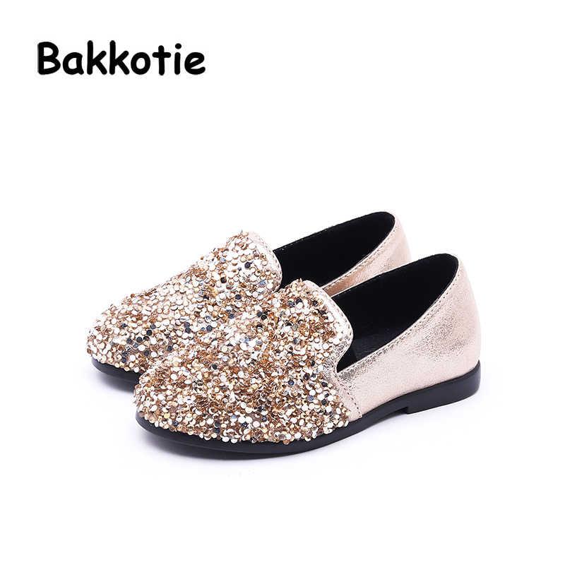 0be31f93d525 Bakkotie 2018 New Autumn Fashion Baby Girl Glitter Flats Children Black Shoes  Kid Brand Leisure Shoes