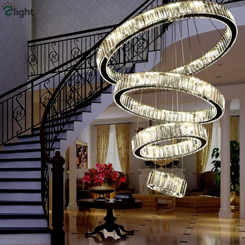 Modern Villa Stairs DIY Lustre K9 Crystal Led Chandelier Stainless Circle Rings Luminaria Pendant Chandelier Indoor Lighting