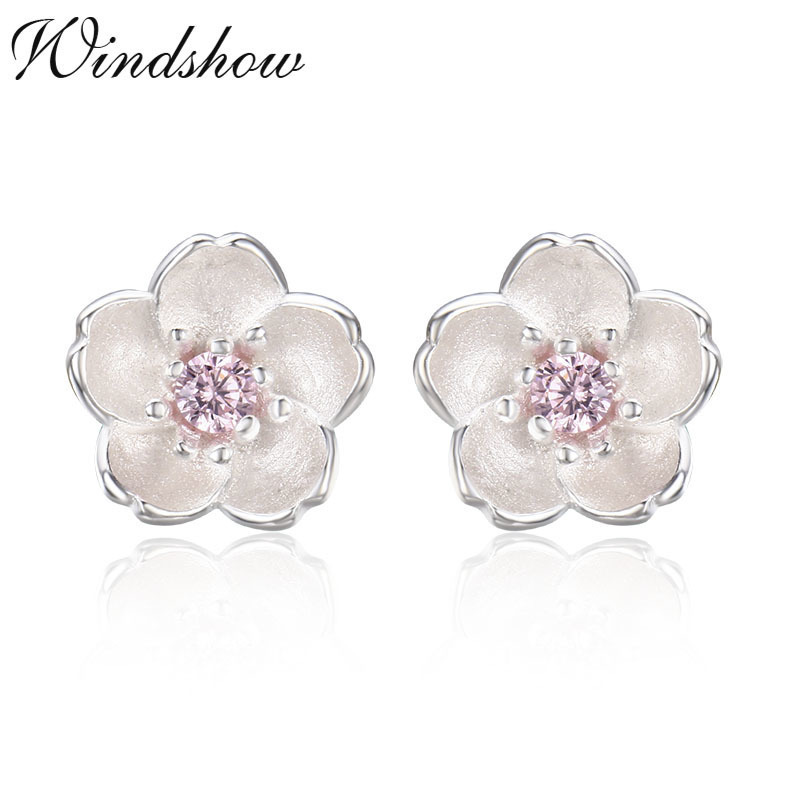 89d4995ae Cute Small 925 Sterling Silver Cherry Blossom Flower Set Pink CZ Stud  Earrings For Women Girls
