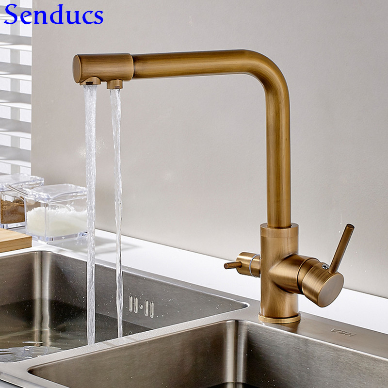 Senducs Health Antique Filter Kitchen Faucet Deck Mounted Brass Kitchen Sink Faucet Dual Handle Clean Walter Antique Faucet