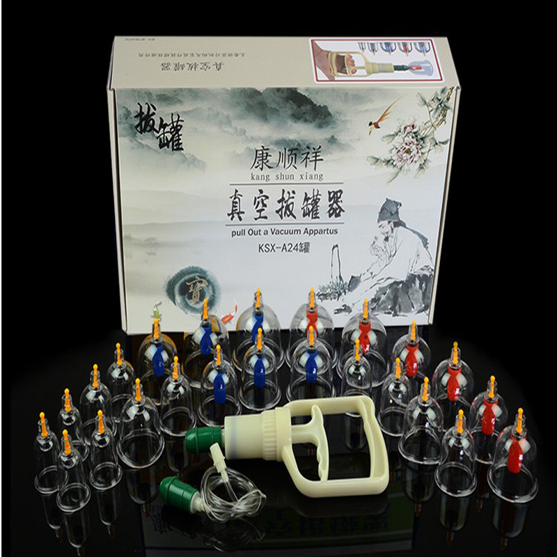 Cheap 24 pcs massage Vacuum cupping set thicker magnetic aspirating cupping cans acupuncture massage suction cup with tube