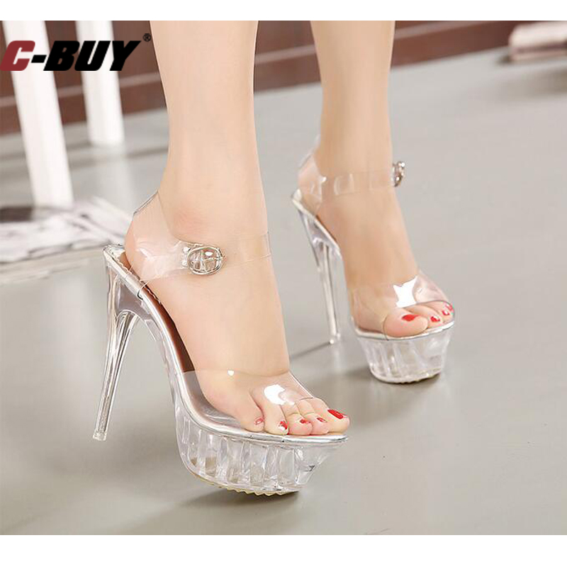 5c8b4ef7cb7 Women Shoes Women High Heel Sandals Sexy Crystal Transparent Fish Head High  Platform 14 Cm Shoes Large Size 35 43 Z10 101-in High Heels from Shoes on  ...