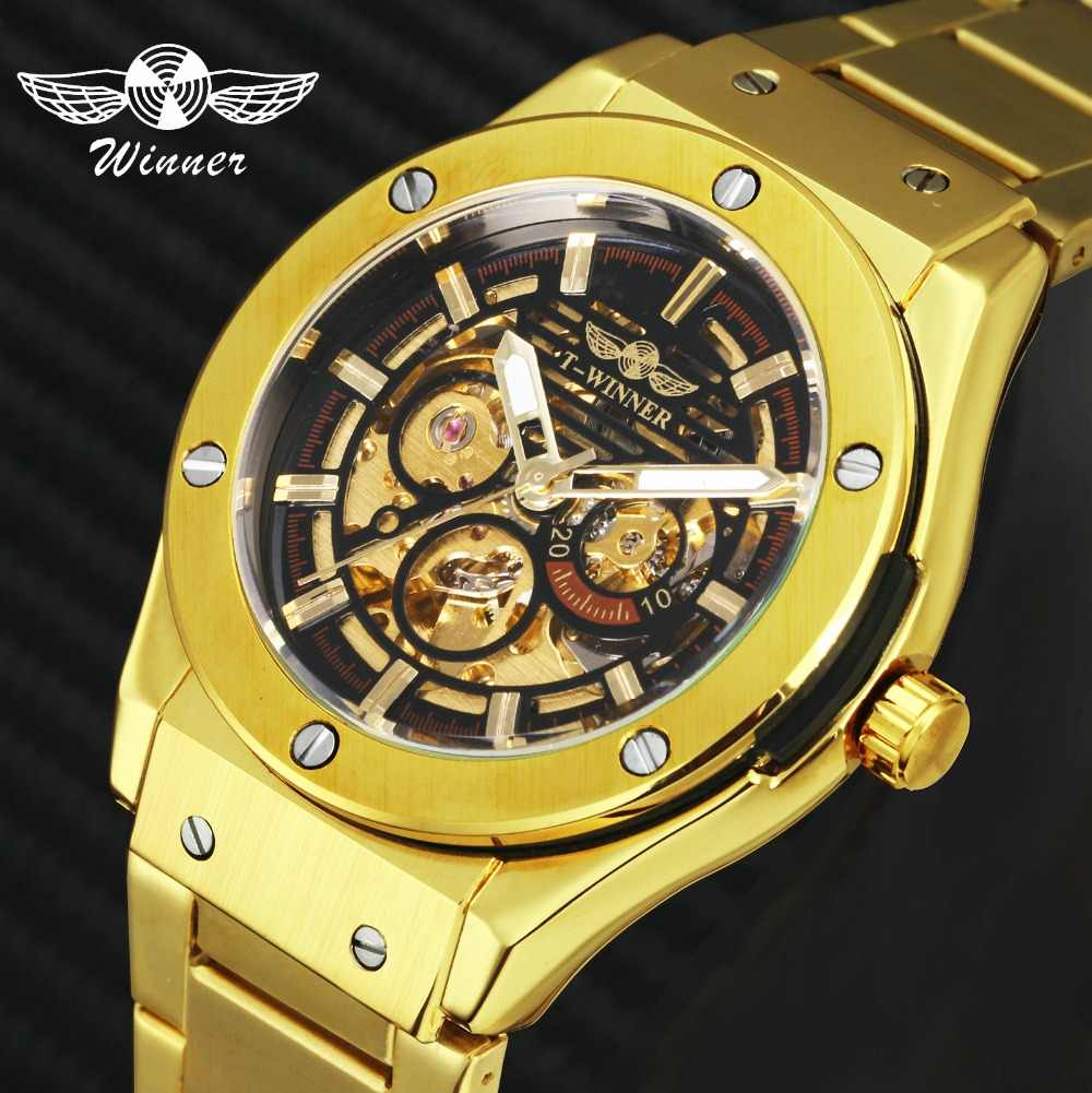134afffec6b WINNER Classic Golden Men Auto Mechanical Watch Metal Strap Skeleton Dial  Top Brand Luxury Design FORSINING