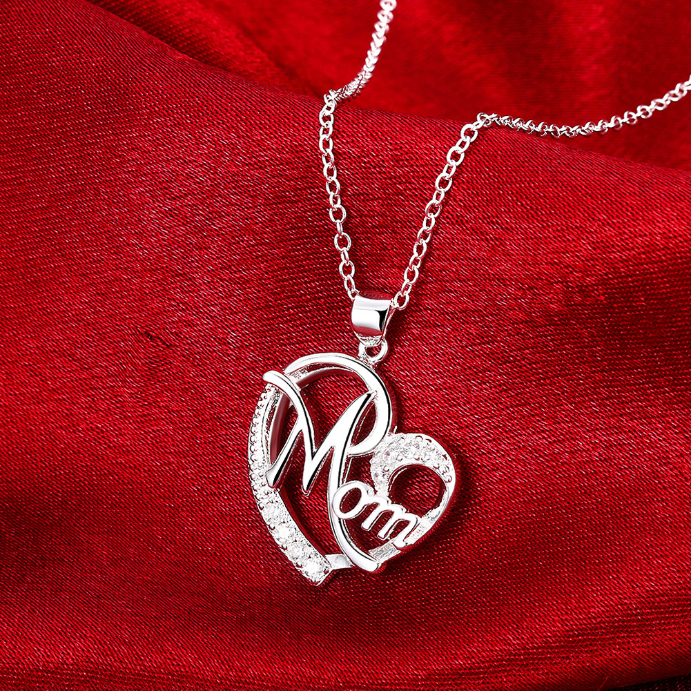 nl004236 lureme/® Silver Plated Jewelry Heart with Mom Pendant Cubic Zirconia Necklace Mother s Day Gift