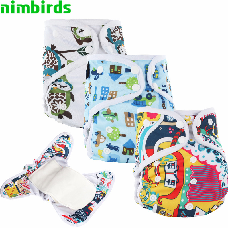 AIO Baby Cloth Diaper With Bamboo Inserts,Washable Printed Diaper Reusable All In One Cloth Nappy With Color Edge Binding