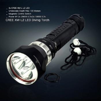 Professional Diving Flashlight DX3 3x XM-L2 Power By 2x18650/26650 Battery 5000 Lumens metal Diving Flashlight Torch Lantern