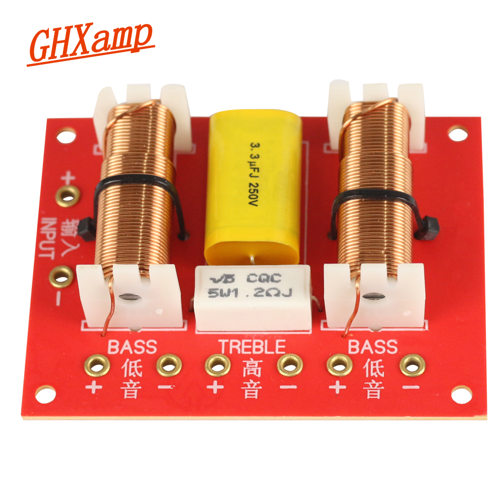 GHXAMP Treble + Dual Bass Speaker Crossover Audio 2 WAY Crossover Woffer Speakers Filter Frequency Divider 3400HZ 200W 2PCS